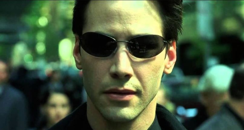 Keanu Reeves stopping multiple bullets from the Matrix movie