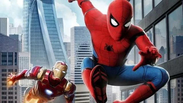 Spider-man and Ironman flying through NYC from Spiderman Homecoming