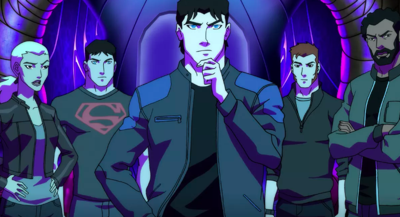 Young Justice team members gazing out at the reader.